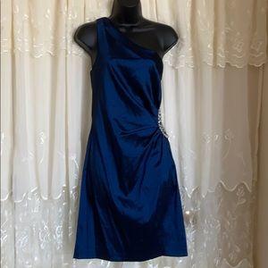 Betsy & Adam Navy Blue One Shoulder Dress